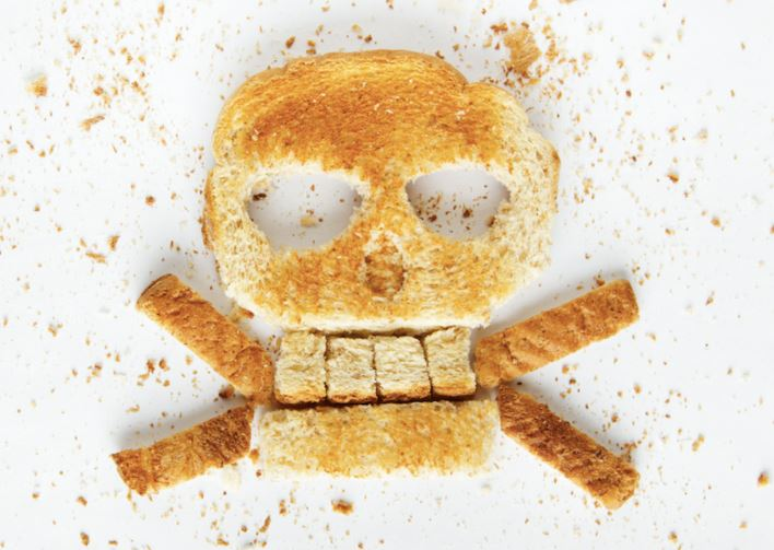 celiac bread skull and crossbones